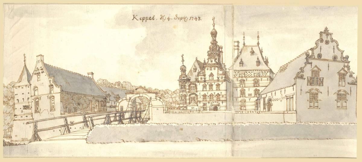 Kasteel Keppel in Laag-Keppel. Tekening Jan de Beijer, 1743